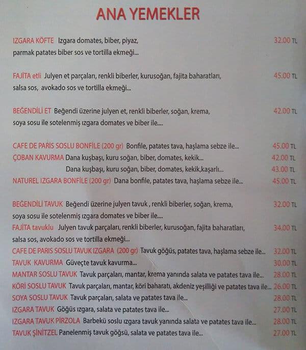 اسعار وقائمة طعام مطعم يني ساحل اسطنبول