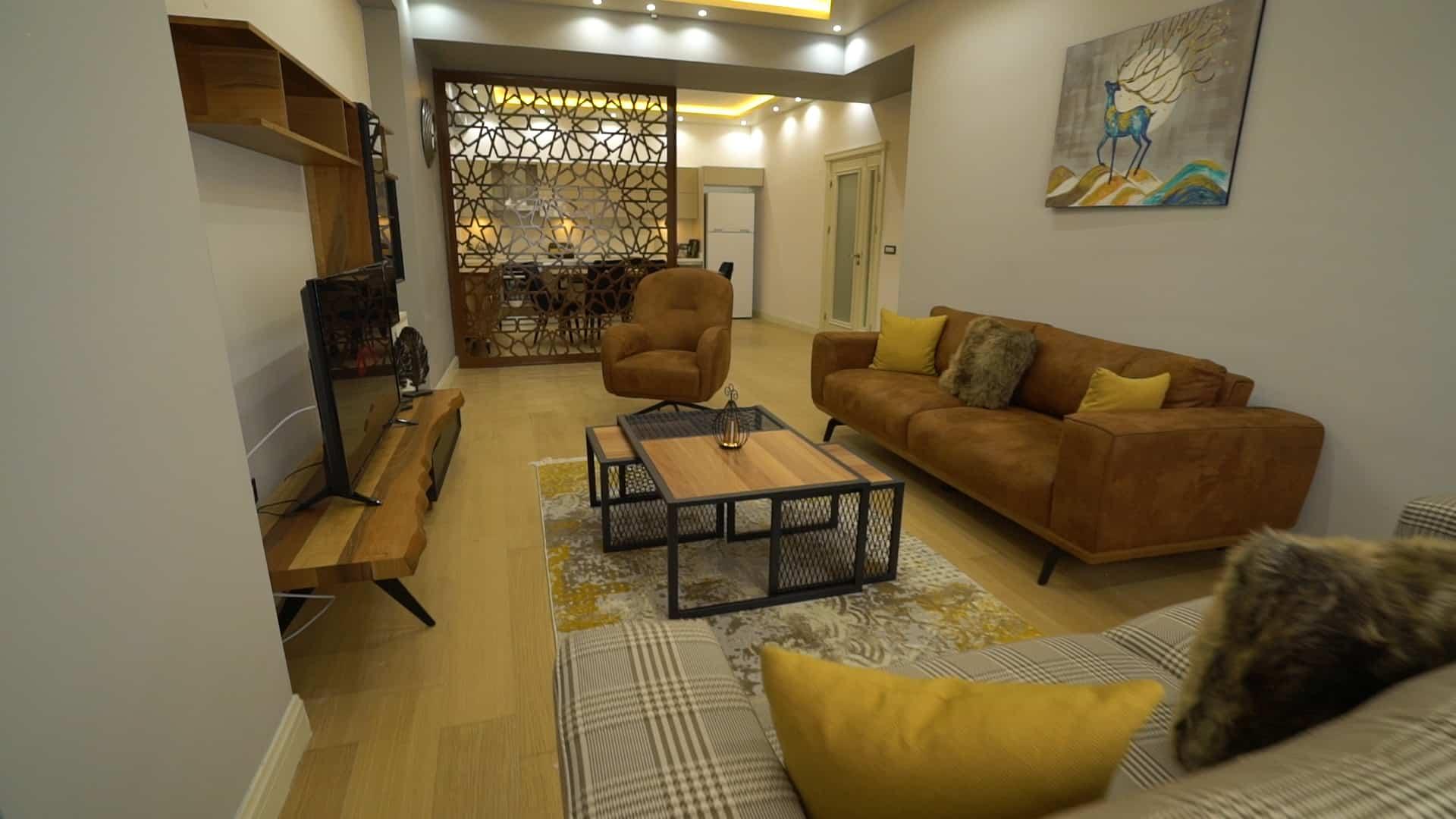 غرفة الجلوس شقق للايجار في فينيسيا لمدة اسبوع غرفتين وصالون