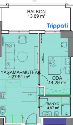 غرفة وصالة في مول فينسيا 92 متر