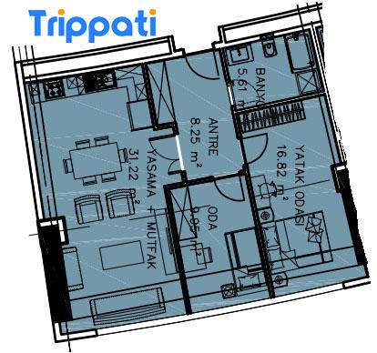 مخطط شقق غرفتين وصالة في فينيسيا