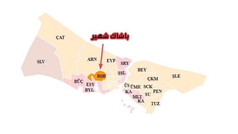 باشاك شهير على الخريطة - أسعار الشقق في إسطنبول