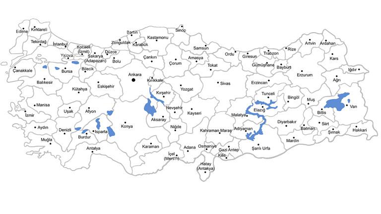خريطة تركيا - السياحة في تركيا
